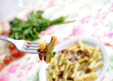 Healthy food - pasta. Pasta with mushrooms, bacon  and parsil Stock Photography