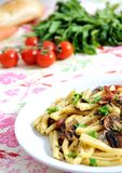 Healthy food - pasta. Close up pasta with mushrooms, bacon  and parsil Stock Photos