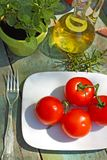Healthy food, pasta and tomatoes Stock Photo