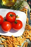 Healthy food, pasta and tomatoes Royalty Free Stock Photo