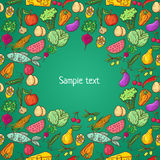 Healthy food pattern template Royalty Free Stock Images