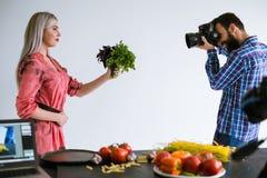 Food photography teamwork studio photographer Royalty Free Stock Photos