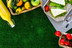 Healthy food for picnic. Sanwiches, fruits, vegetables, juice on tablecloth on green grass background top view copyspace Stock Images