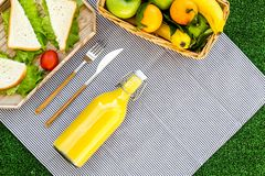 Healthy food for picnic. Sanwiches, fruits, vegetables, juice on tablecloth on green grass background top view copyspace Royalty Free Stock Photos