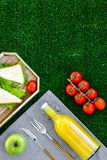 Healthy food for picnic. Sanwiches, fruits, vegetables, juice on tablecloth on green grass background top view copyspace Stock Photography