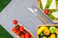 Healthy food for picnic. Sanwiches, fruits, vegetables on tablecloth on green grass background top view copyspace Stock Photos