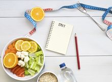 Healthy food and planing for diet. stock photography