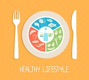 Healthy food plate. Vector concept of healthy food plate. Cereals, vegetables and fish Stock Image