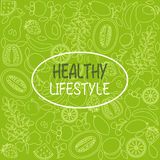 Healthy food poster or banner with hand drawn fruits Stock Image