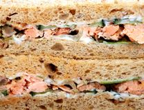 Healthy food,prawn and salmon salad sandwich on brown bread Stock Photo