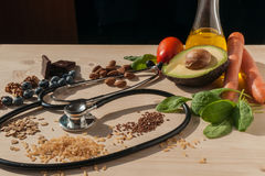 Healthy food for prevent cardiovascular diseases. An image with healthy food for prevent cardiovascular diseases Royalty Free Stock Images