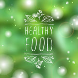 Healthy food - product label on blurred background Royalty Free Stock Photos