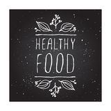 Healthy food - product label on chalkboard Stock Images
