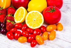 Healthy food - food products with a high content of vitamin c. Royalty Free Stock Images