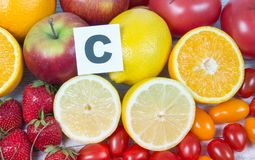 Healthy food - food products with a high content of vitamin c. royalty free stock image
