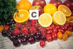 Healthy food - food products with a high content of vitamin c. stock image