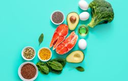 Omega-3 source concept. Healthy food products which are rich source of Omega3 fats, healthy eating concept, blank space for a text, view from above stock images