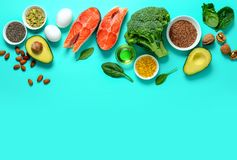 Omega-3 source concept. Healthy food products which are rich source of Omega3 fats, healthy eating concept, blank space for a text, view from above stock photography