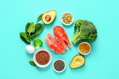 Omega-3 source concept. Healthy food products which are rich source of Omega3 fats, healthy eating concept, view from above stock photos