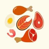 Healthy food, protein. Foods flat vector set, Illustration royalty free illustration