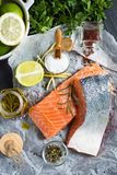 Fresh Raw Salmon Fillet and Ingredients for Cooking. Healthy Food. Raw Salmon Steaks and Ingredients for Cooking Royalty Free Stock Images