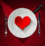 Healthy Food - Red Heart on the Plate Royalty Free Stock Images