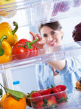 Healthy food in the refrigerator Royalty Free Stock Image