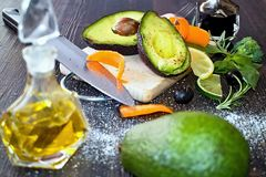 Healthy food rich in carotenoids, flavonoids and phytosterols with avocado. When healthy food rich in carotenoids, flavonoids and phytosterols, then avocado Royalty Free Stock Photo