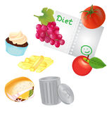 Healthy food for Routin and Unhealthe Food for Trash Can Royalty Free Stock Images