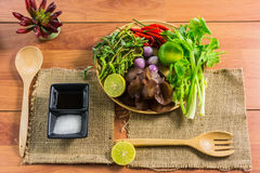 Healthy Food.Salad with cellophane noodles are a type of cuisine of Thailand. Royalty Free Stock Images