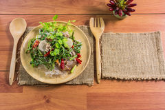 Healthy Food.Salad with cellophane noodles are a type of cuisine of Thailand. Stock Photos