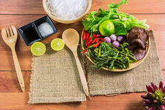 Healthy Food.Salad with cellophane noodles are a type of cuisine of Thailand. Royalty Free Stock Photos