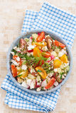 Healthy food - salad with fresh vegetables and cottage cheese Royalty Free Stock Photo