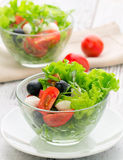 Healthy food - salad with mozzarella, arugula Royalty Free Stock Photos