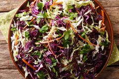 Free Healthy Food: Salad Of White And Red Cabbage With Carrots, Herbs Royalty Free Stock Photos - 116961258