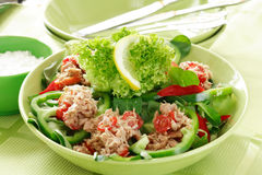 Healthy food, salad with tunny Stock Photos