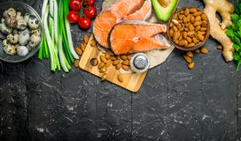 Healthy food. Salmon with organic food royalty free stock photography