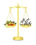 Healthy food on scales, cdr vector Royalty Free Stock Photo