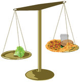 Healthy food scales Royalty Free Stock Images