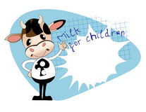 Healthy food for schoolchildren. Comic calf in the form of a sch Stock Images
