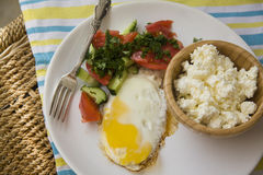 Healthy food: scrambled eggs and cottage cheese Royalty Free Stock Photo