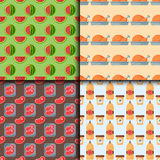 Healthy food seamless pattern diet dinner lunch cooking nutrition cuisine vector illustration. Restaurant eating dish organic natural gourmet delicious fruit Royalty Free Stock Photo