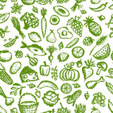 Healthy food seamless pattern, sketch for your stock illustration