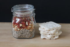 Healthy Food. Healthy seeds in jar and apples Royalty Free Stock Image