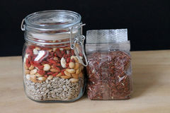 Healthy Food. Healthy seeds and red rice Stock Photo