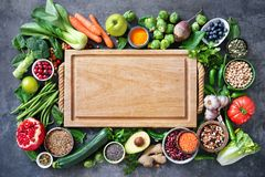 Healthy food selection with fruits, vegetables, seeds, super foods, cereals royalty free stock images