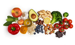 Healthy food. Selection of healthy food on white background. Healthy diet foods for heart, cholesterol and diabetes Stock Image