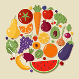 Healthy Food Set of Fruits and Vegetables Stock Image