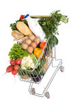 Healthy food in shopping cart. Top view, isolated Stock Images