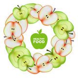 Healthy Food. Slice of Apple. Round Frame. Vector Royalty Free Stock Photography